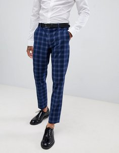 Read more about Asos design wedding skinny suit trousers in tonal blue check - blue