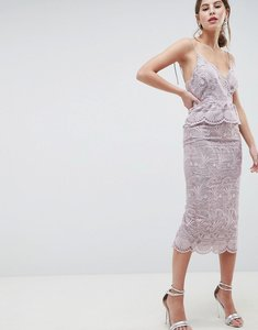 Read more about Asos salon scallop seashell lace pencil midi dress - lilac