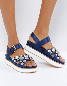 Read more about Office soiree embellished stacked sandals - navy