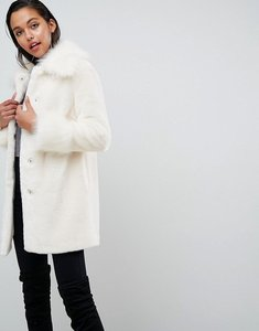 Read more about Asos all over faux fur coat with statement sleeve - white
