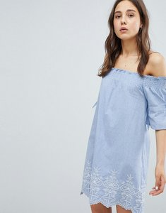 Read more about Influence shirred sleeve bardot dress with embroiderry detail - blue