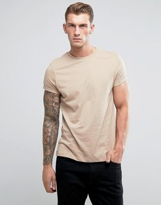 Read more about Asos t-shirt with crew neck and roll sleeve - cardboard