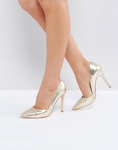 Read more about London rebel pointed metallic court shoe - rose gold