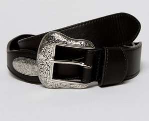 Read more about Asos wide western belt in black faux leather - black