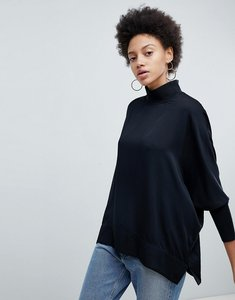 Read more about Selected high neck luxe balloon sleeve blouse - black