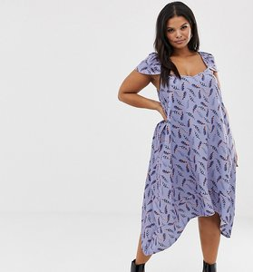 Read more about Lost ink plus flutter sleeve swing dress in all over feather print - multi