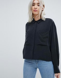 Read more about Weekday crop cupro blouse - black