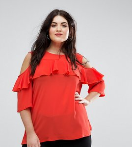 Read more about Lovedrobe scarlet ruffle detail cold shoulder blouse - red