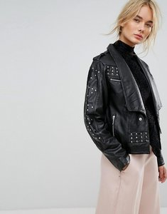 Read more about Gestuz studded leather jacket - black
