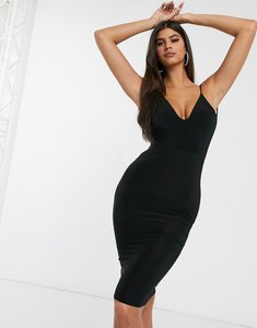 Read more about Club l london open back midi dress with ruched back detail in black