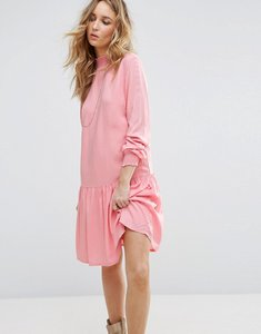 Read more about Vila drop hem high neck smock dress - pink