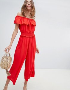 Read more about Miss selfridge shirred waist culotte jumpsuit - red