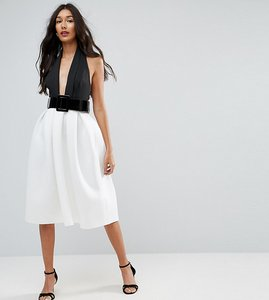 Read more about Asos tall mono belted halter neck midi prom dress - multi