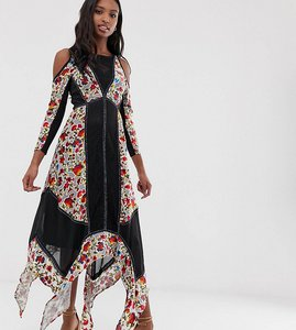 Read more about Frock and frill tall floral printed velvet hanky hem dress with cold shoulder - multi