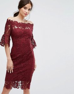 Read more about Paper dolls off shoulder crochet dress with frill sleeve - burgundy