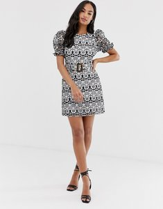 Read more about Asos design premium contrast lace mini dress with buckle belt