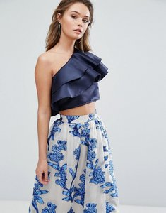 Read more about True violet one shoulder crop top with frill overlay - navy