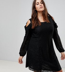 Read more about Koko cold shoulder ruffle detail lace shift dress - black