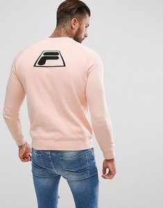 Read more about Fila black sweatshirt with applique back logo in pink - pink