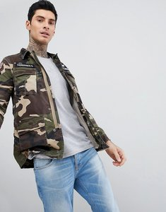 Read more about Schott williams m65 military camo print jacket with badges in green - camo khaki