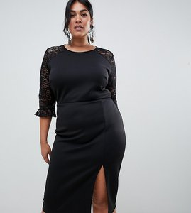 Read more about True violet plus scuba bodycon dress with lace insert in black