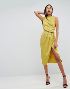 Read more about Asos drape front satin midi dress - chartreuse
