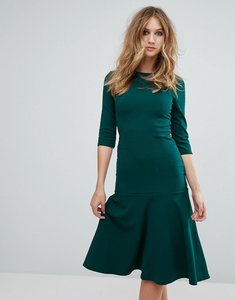 Read more about Club l kick flare short sleeve scuba crepe midi dress - bottle green