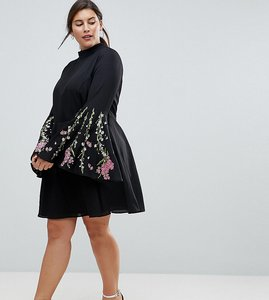 Read more about Asos curve fluted sleeve embroidered skater mini dress - black