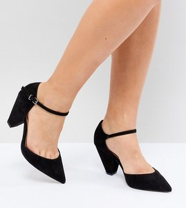 Read more about Asos design speaker extra wide fit pointed heels - black