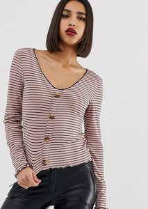 Read more about Prettylittlething v neck button through top in brown stripe