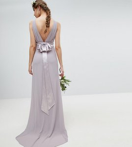 Read more about Tfnc tall sateen bow back maxi bridesmaid dress - grey