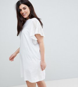 Read more about Asos curve t-shirt dress with broderie sleeves - white