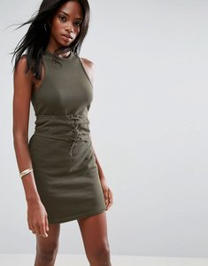 Read more about Asos sleeveless corset mini dress with cut out back - khaki