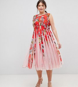 Read more about Asos curve floral mesh insert fit and flare midi dress - multi