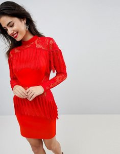 Read more about Asos ultimate fringe long sleeve lace mini dress - red