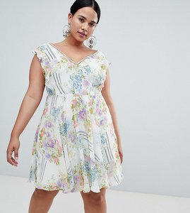 Read more about Asos design curve ruffle mini dress with open back in floral print - multi