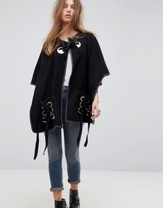 Read more about Asos eyelet tie up detail cape - black