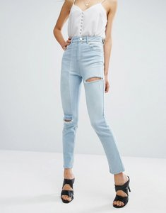 Read more about Asos deconstructed slim mom jeans - light wash blue
