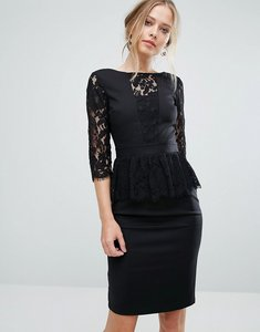 Read more about Paper dolls lace trim midi dress with lace peplum - black