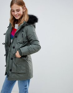Read more about Brave soul parka with faux fur trim hood - khaki black