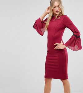 Read more about Paper dolls tall long sleeve midi dress - wine