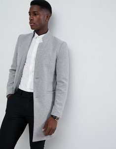 Read more about Only sons overcoat with stand up collar - light grey melange
