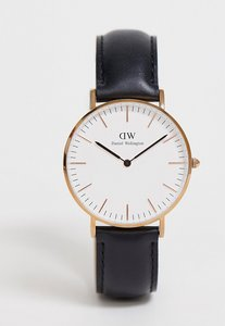 Read more about Daniel wellington classic black sheffield rose gold rim large watch - black