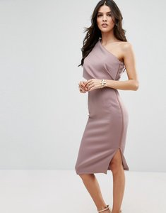 Read more about Asos one shoulder scuba deep fold midi dress with exposed zip - mink
