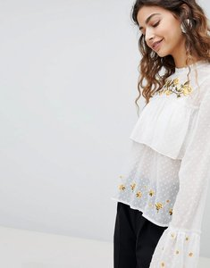 Read more about Miss selfridge embroidered tiered blouse - multi