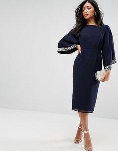 Read more about Asos kimono trim embellished midi dress - navy