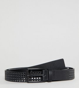 Read more about Asos plus slim belt in black faux leather with perforated holes - black
