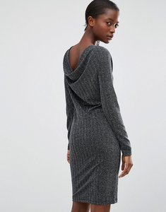 Read more about B young silver metallic dress with cowl back - silver