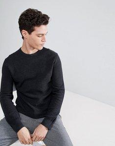 Read more about Polo ralph lauren texture pima cotton knit jumper crew neck polo player in black marl - black heathe