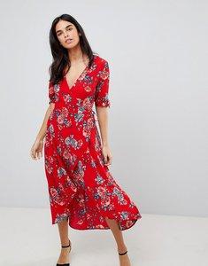Read more about Ax paris floral wrap midi dress - red